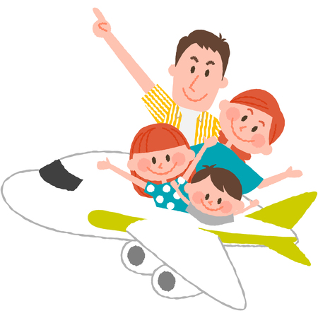 A vector illustration of the family trip by airplane. 写真素材 - 75487303