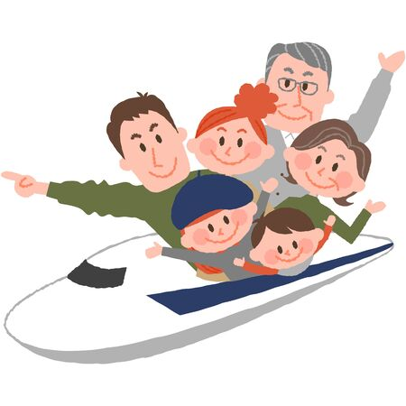 A vector illustration of the family trip by train.  イラスト・ベクター素材