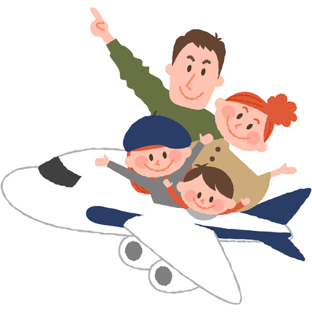 A vector illustration of the family trip by airplane.