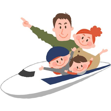 A vector illustration of the family trip by train. 写真素材 - 75487315