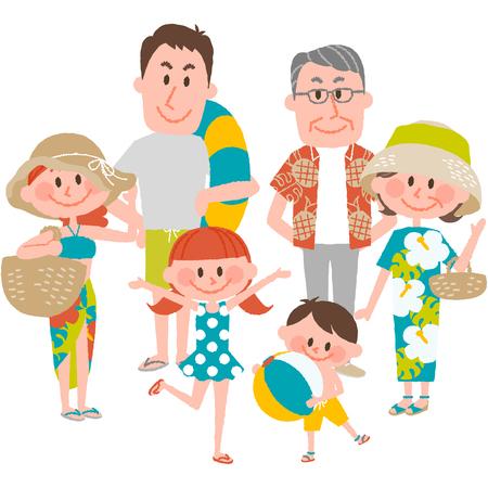 enfant maillot de bain: Illustration vectorielle d'une vacances en famille en bord de mer Illustration
