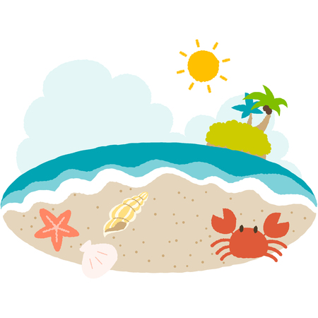 A vector illustration of beach side with simple touch  イラスト・ベクター素材