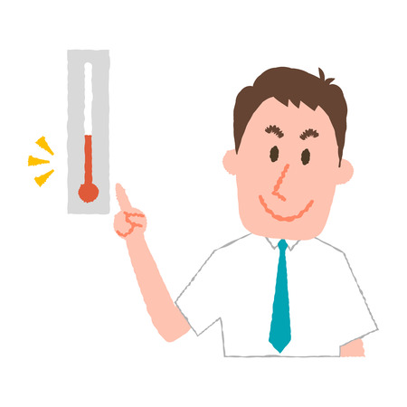 vector illustration of a businessman checking the temperature