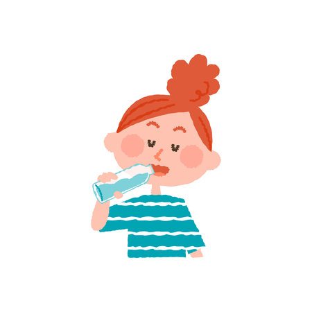 vector illustration of a woman drinking water