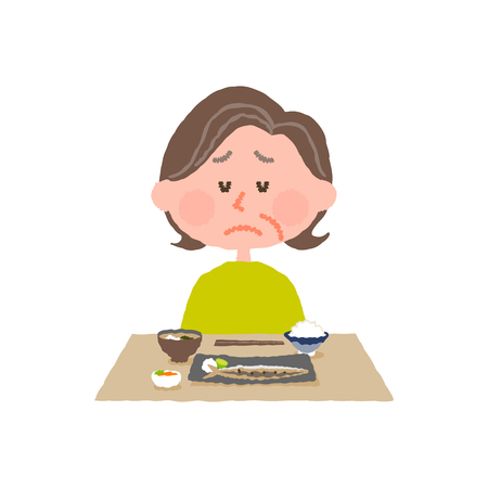 vector illustration of an elder woman without appetite