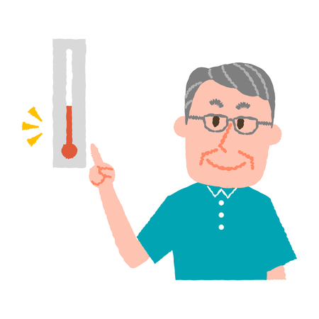 vector illustration of an elder man checking the temperature