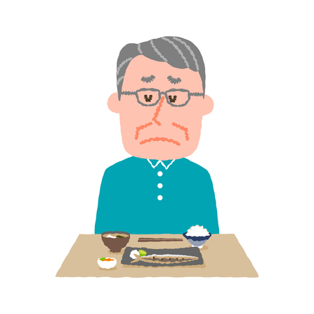 vector illustration of an elder man without appetite