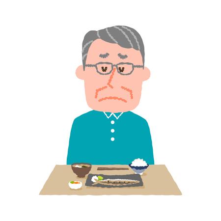 vector illustration of an elder man without appetite