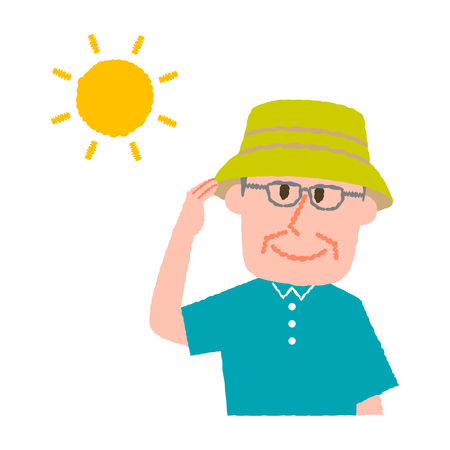vector illustration of an elder man wearing a hat