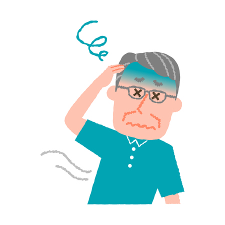 vector illustration of an elder man feeling dizzy  イラスト・ベクター素材