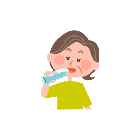 vector illustration of an elder woman drinking water