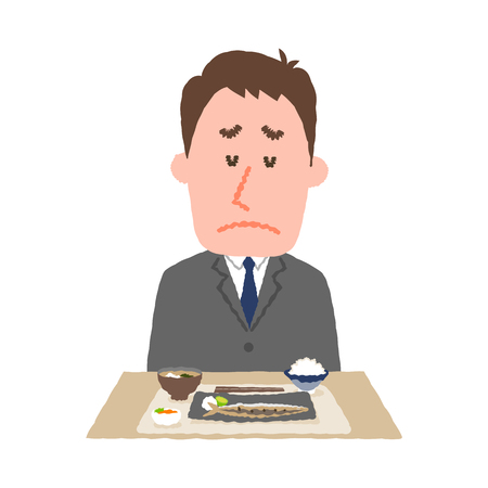 vector illustration of a businessman without appetite