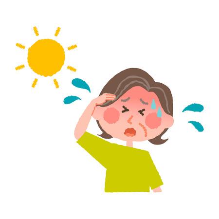 熱中症高齢者の女性のベクトル イラスト