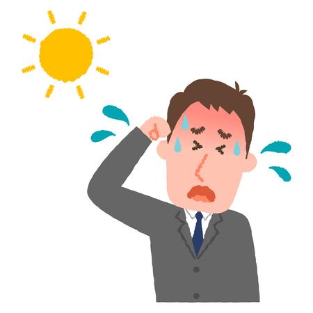 illustration vectorielle d'un homme d'affaires avec une coupure de chaleur Vecteurs