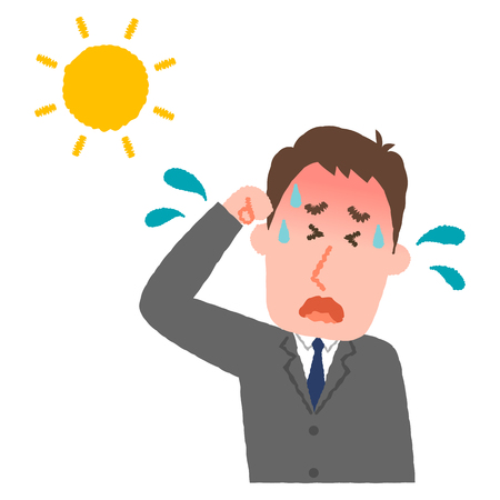 vector illustration of a businessman with heatstroke