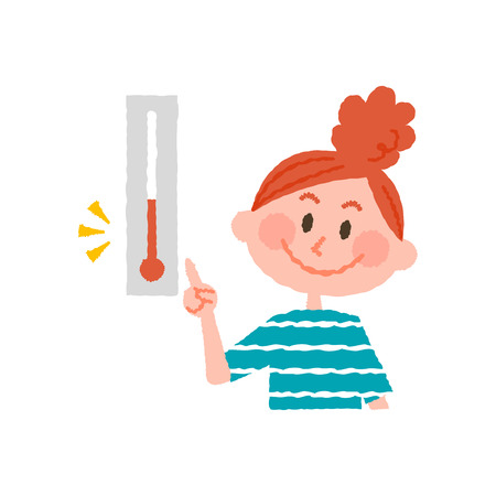 vector illustration of a woman checking the temperature