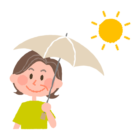 vector illustration of an elder woman holding a parasol  イラスト・ベクター素材