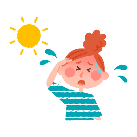 vector illustration of a woman with heatstroke  イラスト・ベクター素材
