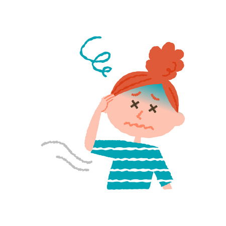 vector illustration of a woman feeling dizzy