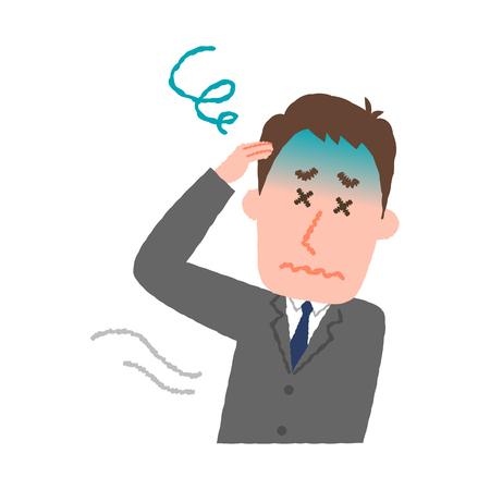 Ilustración vectorial de un empresario sentirse mareado Foto de archivo - 78838845