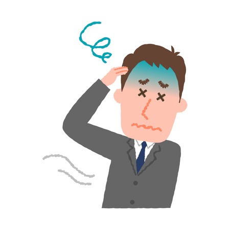 vector illustration of a businessman feeling dizzy