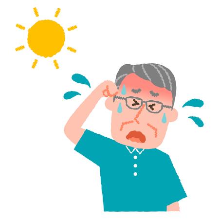 vector illustration of an elder man with heatstroke