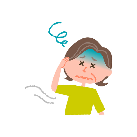 vector illustration of an elder woman feeling dizzy