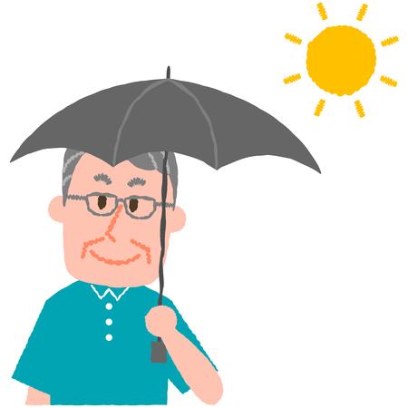 vector illustration of an elder man holding a parasol