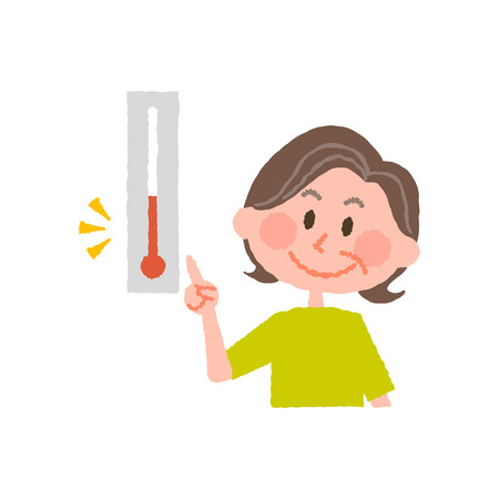 vector illustration of an elder  woman checking the temperature  イラスト・ベクター素材