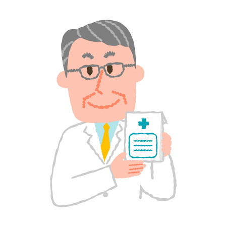 Vector illustration of an elderly male pharmacist  イラスト・ベクター素材