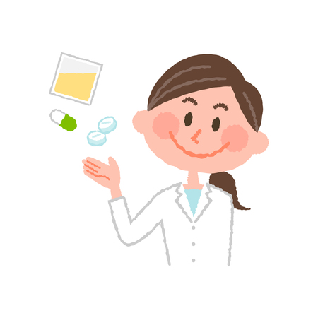Vector illustration of a young female pharmacist