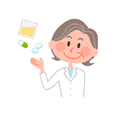 vector illustration of an elderly female pharmacist