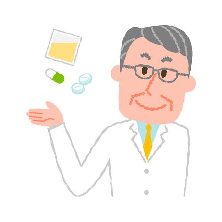 Vector illustration of an elderly male pharmacist Illustration