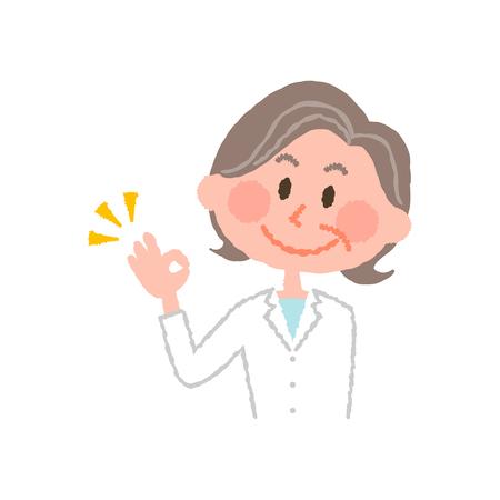 高齢者の女性薬剤師のベクトル イラスト 写真素材 - 78841541