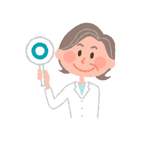 高齢者の女性薬剤師のベクトル イラスト