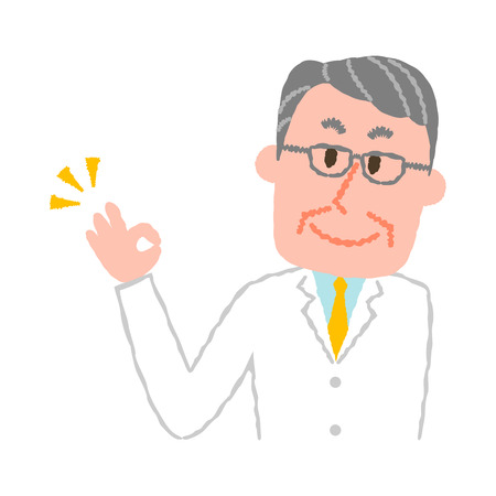vector illustration of an elderly male pharmacist  イラスト・ベクター素材