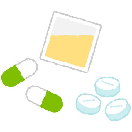 A vector illustration of many medicines.
