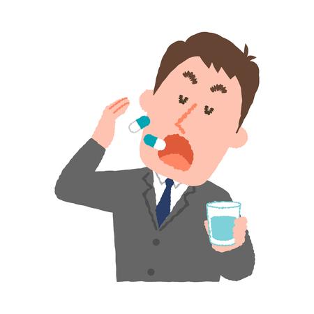A vector illustration of a businessman taking medicines.