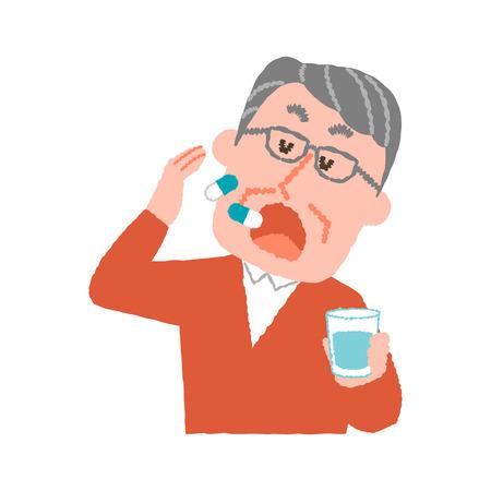 A vector illustration of an elder man taking medicines.