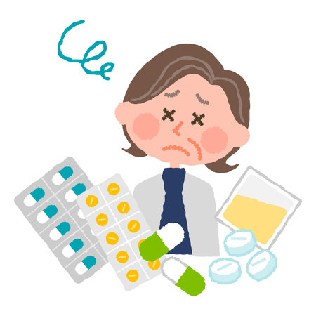 A vector illustration of an elder woman who are tired of many medicines.