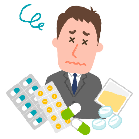 A vector illustration of a businessman who are tired of many medicines.