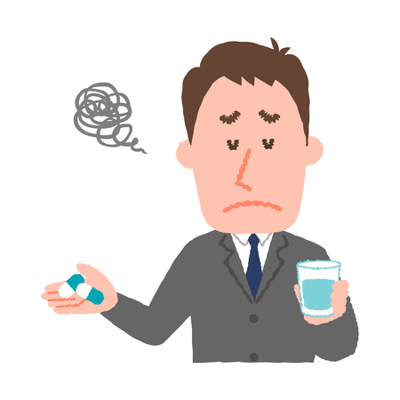 mongoloid: A vector illustration of a businessman who dont want to take medicines. Illustration