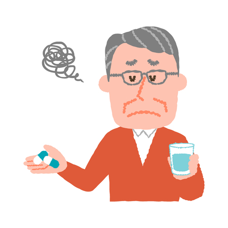 A vector illustration of an elder man who don't want to take medicines.