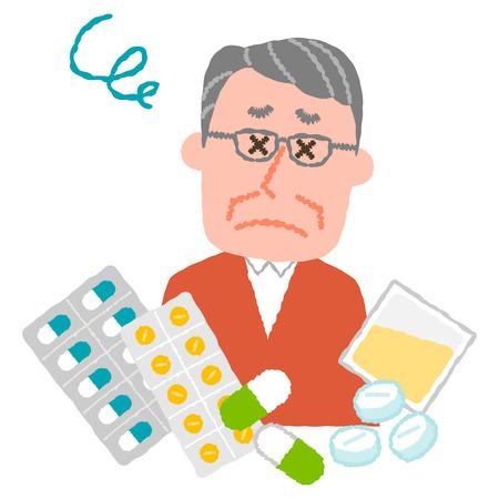 많은 의약품의 피곤 된 노인 남자의 벡터 일러스트 레이 션.