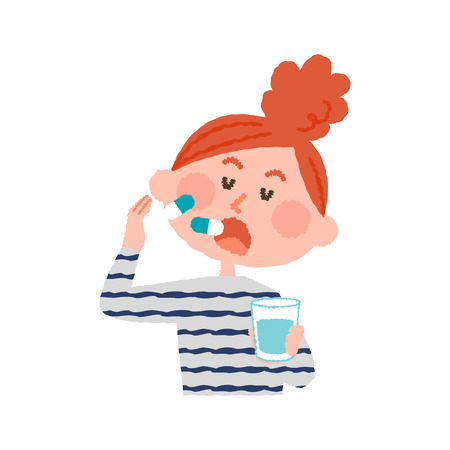 A vector illustration of a woman taking medicines.