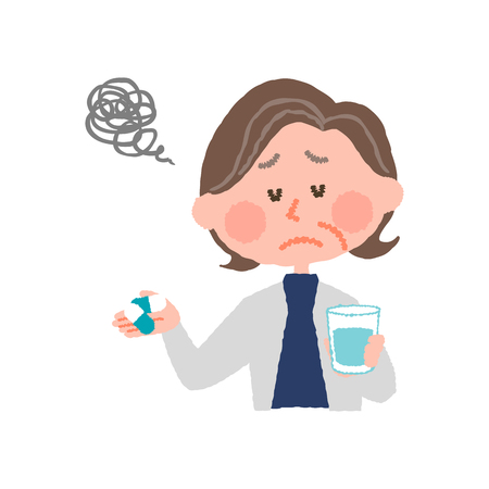 vector illustration of an elder woman who don't want to take medicines 写真素材 - 80338574