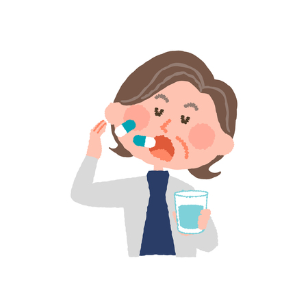 A vector illustration of an elder woman taking medicines.  イラスト・ベクター素材