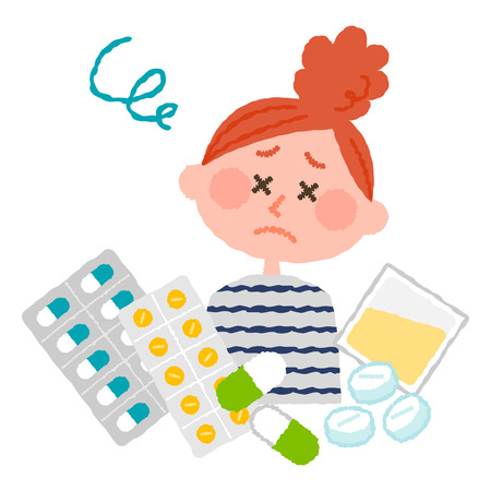 A vector illustration of a woman who are tired of many medicines.