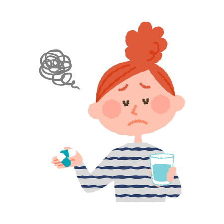 A vector illustration of a woman who don't want to take medicines.  イラスト・ベクター素材