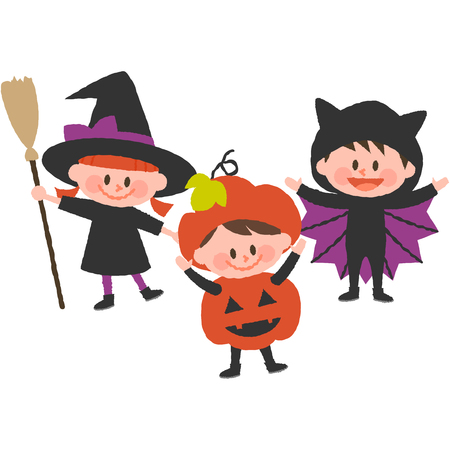 A vector illustration of children wearing halloween costumes